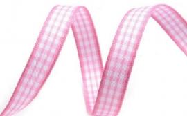 Dekoband rosa weiss kariert 10 mm