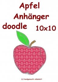 Stickdatei Apfel Anhaenger doodle 10x10