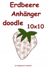 Stickdatei Erdbeere Anhaenger doodle 10x10