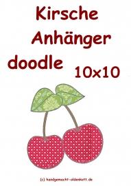 Stickdatei Kirschen Anhaenger doodle 10x10