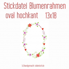 Stickdatei Blumenrahmen oval hochkant 13x18