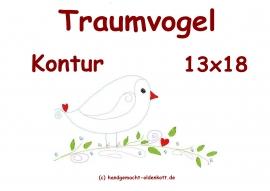 Stickdatei Traumvogel Kontur 13x18