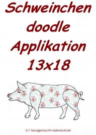 Stickdatei Schwein doodle 13x18