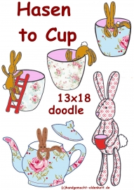 Stickdatei Serie Hasen to Cup doodle 13x18