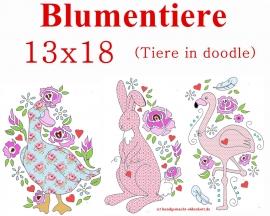 Stickdatei Blumentiere doodle 13x18