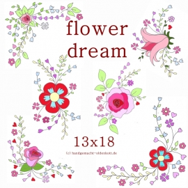 Stickdatei Serie flowerdreams 13x18