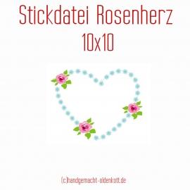 Stickdatei Rosenherz 10x10