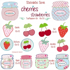 Stickdatei cherries & strawberries