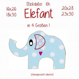 Stickdatei Elefant ith