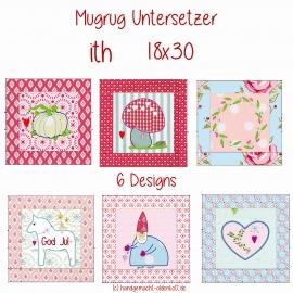 Stickdatei Stickserie Mugrug Untersetzer ith 18x30