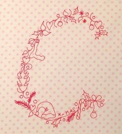 Stickdatei Weihnachts C 13x18 redwork