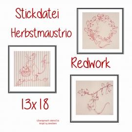 Stickdatei Serie Herbstmaustrio 13x18