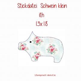 Stickdatei Schwein klein ith 13x18