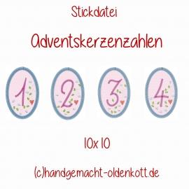 Stickdatei Adventszahlen Anhaenger 10x10