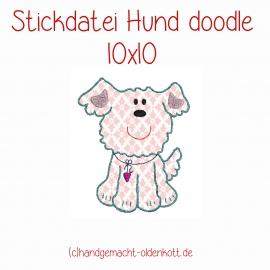 Stickdatei Hund doodle 10x10