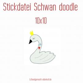 Stickdatei Schwan doodle 10x10