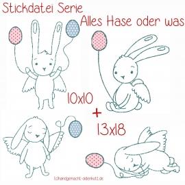 Stickdatei Serie Alles Hase oder was 10x10 und 13x18