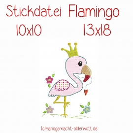 Stickdatei Flamingo doodle 10x10  13x18