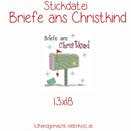 Stickdatei Briefe ans Christkind 13x18