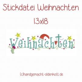 Stickdatei Weihnachten Schriftzug 13x18