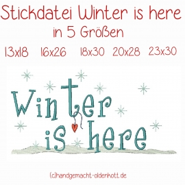 Stickdatei Winter is here in 5 Groessen