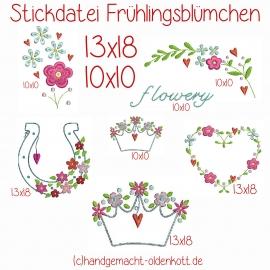 Stickdatei Serie Frühlingsblümchen 13x18