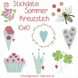 Stickdatei Serie Sommer Kreuzstich 10x10