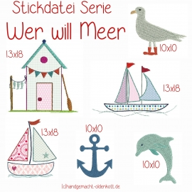 Stickdatei Wer will Meer 13x18  doodles