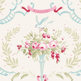 Tilda Stoff Old Rose Birdsong dove white 100205