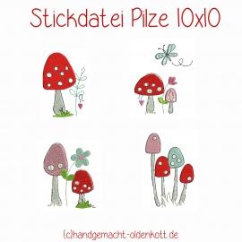 Stickdatei Pilze 10x10