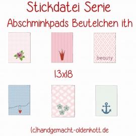 Stickdatei Abschminkpads Beutelchen ith 13x18