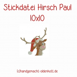 Stickdatei Hirsch Paul 10x10