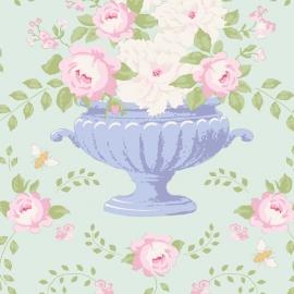 Tilda Stoff flowerbees teal 100236