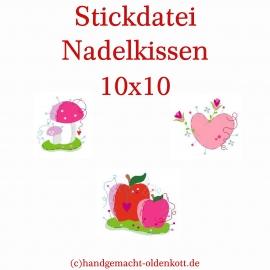 Stickdatei Serie Nadelkissen 10x10
