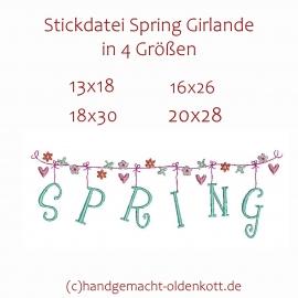 Stickdatei Spring Girlande 4 Groessen