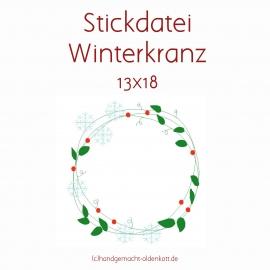 Stickdatei Winterkranz 13x18