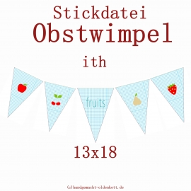 Stickdatei Obstwimpel ith 13x18