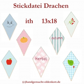 Stickdatei Drachen ith 13x18