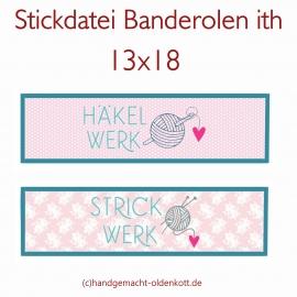 Stickdatei Banderolen Häkelwerk Strickwerk ith 13x18
