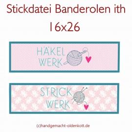 Stickdatei Banderolen Häkelwerk Strickwerk ith 16x26