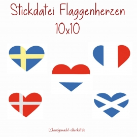 Stickdatei Flaggenherzen 10x10