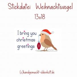 Stickdatei Weihnachtsvogel 13x18