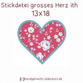 Stickdatei grosses Herz ith 13x18