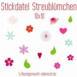 Stickdatei Streublümchen 10x10