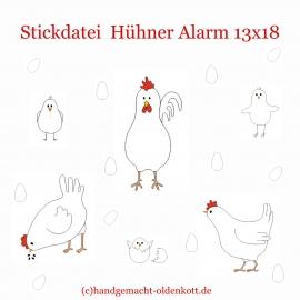 Stickdatei Hühner Alarm 10x10