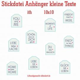 Stickdatei Anhänger ith kleine Texte 10x10