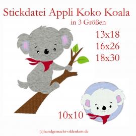 Stickdatei Koko Koala Appli