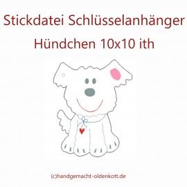 Stickdatei Schluesselanhaenger Huendchen  10x10 ith