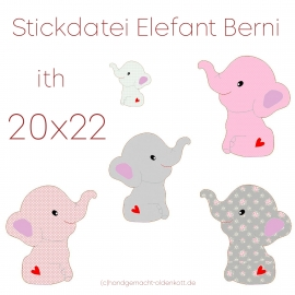 Stickdatei Elefant Berni ith 20x22