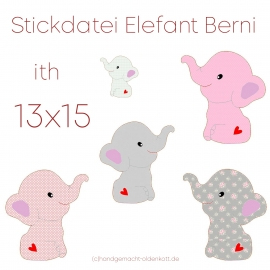 Stickdatei Elefant Berni ith 13x15